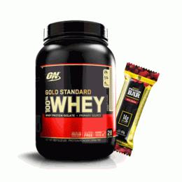 100% Whey Protein Gold Standard (909g) + 2 Iridium Protein Bar (40g)